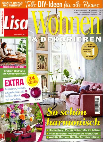 lisa wohnen dekorieren abo zeitschriften. Black Bedroom Furniture Sets. Home Design Ideas